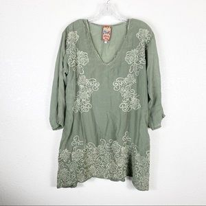 Johnny Was Green Floral Embroidered Tunic Blouse
